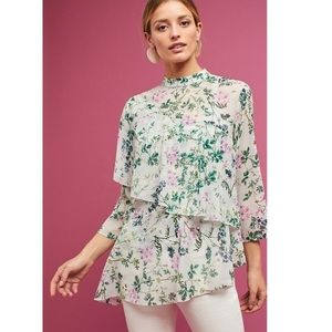 Anthropologie Floral Tiered Chiffon Blouse M